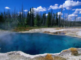 Steam Rising from Abyss Pool in West Thumb Geyser Basin, Yellowstone National Park, USA Fotografisk tryk af John Elk III