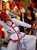 Rajastani Dancers at Annual Elephant Festival, Jaipur, India Fotografisk tryk af Paul Beinssen