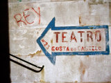 Sign on Wall Directing to Teatro, Lisbon, Portugal Photographic Print by Martin Lladó