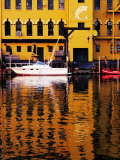 Boats and Buildings in Warehouse District Reflected in Cuyahoga River, Cleveland, USA Photographic Print by Richard I'Anson