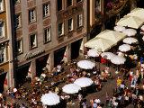 Overhead of Outdoor Cafes on Marienplatz, Munich, Germany Photographic Print by Krzysztof Dydynski