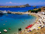 Lindos Beach, Lindos, Greece Reproduction photographique par Christopher Groenhout