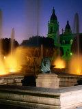 Fountain on Plaza Las Delicias, Ponce, Puerto Rico Fotografie-Druck von John Elk III