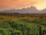 Wooden Fence Across Plain with Teton Range Behind, Grand Teton National Park, USA Fotografisk tryk af John Elk III
