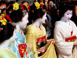 Geisha and Maiko at Memorial for Poet Yoshii Isamu in Gion, Japan Photographic Print by Frank Carter