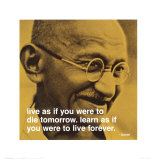 Gandhi: vivre et apprendre, en anglais Affiches