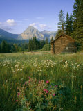 Old Park Service cabin in the Cut Bank Valley of Glacier National Park in Montana Photographic Print by Chuck Haney