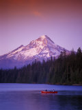 Boys in Canoe on Lost Lake with Mt Hood in the Distance, Mt Hood National Forest, Oregon, USA Photographic Print by Janis Miglavs