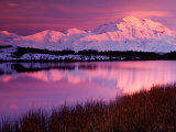 Mt. Denali at Sunset From Reflection Pond in Denali National Park, Alaska, USA Photographic Print by Charles Sleicher