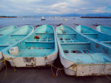 Turquoise Fishing Boats in Fishing Village, North of Puerto Vallarta, Colonial Heartland, Mexico Fotografie-Druck von Tom Haseltine