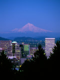 Night View of Downtown and Mt Hood, Portland, Oregon, USA Photographic Print by Janis Miglavs