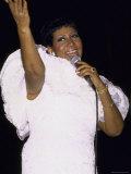 Singer Aretha Franklin Performing Premium Photographic Print by David Mcgough