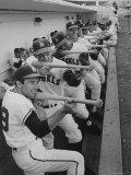 Los Angeles Angels Players Albie Pearson and Bill Moran in Dugout at Stadium During Practice Premium Photographic Print by Ralph Crane