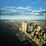 Manhattan from Lower West Side, New World Trade Center's Twin Towers Dominating Landscape Fotografisk tryk af Henry Groskinsky