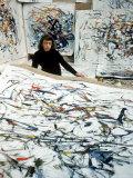 Portrait of American Born Painter Joan Mitchell in Her Studio Premium fototryk af Loomis Dean