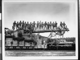 Men of US Army Easily Standing on Barrel of Mammoth 274 Mm Railroad Gun During WWII Photographic Print by Pat W. Kohl