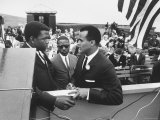Sidney Poitier with Harry Belafonte, and Southern Sit in Leader Bernard Lee, at Civil Rights Rally Premium fototryk af Al Fenn