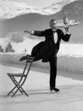 Waiter Rene Brequet with Tray of Cocktails as He Skates Around Serving Patrons at the Grand Hotel Stretched Canvas Print by Alfred Eisenstaedt