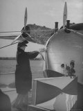 """First Lady Eleanor Roosevelt on the Hull of Pan American's New Flying Boat the """"Yankee Clipper"""" Premium Photographic Print by Thomas D. Mcavoy"""
