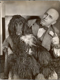 "Britain's Top Journalist Vladimir Poliakoff aka ""Augur,"" Posing with His Beloved Afghan Hound Reproduction photographique Premium par Margaret Bourke-White"