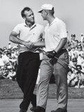 Golfer Jack Nicklaus and Arnold Palmer During National Open Tournament Premium fotografisk trykk av John Dominis
