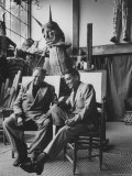Diego Rivera in His Studio with Comedian Cantinflas Premium Photographic Print by Allan Grant