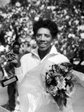 Althea Gibson Holding the Suzanne Lenglen Cup After Winning the French Title Premium Photographic Print by Thomas D. Mcavoy