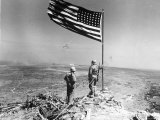 Pair of American Marines Survey View from Atop Mt. Suribachi Two Days After the Famous Flag Raising Photographic Print