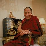 Tibetan Spiritual Leader in Exile Dalai Lama in Smiling Portrait Premium fotoprint van Ted Thai