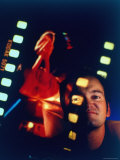 """Film Director Quentin Tarantino Framed by Projected Clip From His Movie """"Pulp Fiction"""" Premium fotoprint van Ted Thai"""