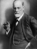 Sigmund Freud, Founder of Psychoanalysis, Smoking Cigar Lámina fotográfica prémium