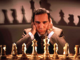 Chess Champion Gary Kasparov Training for May Rematch with Smarter Version of IBM Computer Reproduction photographique Premium par Ted Thai