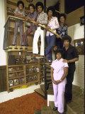 Jackson Five Michael, Marlon, Tito, Jermaine, Jackie and Parents Mr. and Mrs. Joseph Jackson Premium fototryk af John Olson