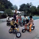 Pop Group Jackson Five: Jackie, Parents Joe and Katherine, Marlon, Tito, Jermaine and Michael Premium fotoprint van John Olson