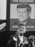 Sen./Pres. Candidate John Kennedy Speaking From Microphoned Podium During His Campaign Tour of TN Photographic Print by Walter Sanders