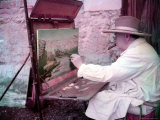 British Statesman Winston Churchill Painting a View of the Sorgue River While on Vacation Premium Photographic Print by Frank Scherschel