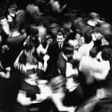 TV Host Dick Clark in Middle of Teenage Dancers on Dance Floor During American Bandstand Show Premium Photographic Print by Paul Schutzer