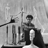 Portrait of Alberto Giacometti Surrounded by His Sculptures Premium Photographic Print by Gordon Parks