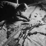 Burlap Landscape Being Sewed by WVS Ladies for Use by Royal Air Force Photographic Print by David Scherman