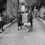 Author Gertrude Stein Walking with Alice B. Toklas and Their Dog Premium Photographic Print by Carl Mydans