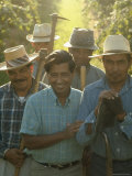 Labor Activist Cesar Chavez Talking in Field with Grape Pickers of United Farm Workers Union Premium Photographic Print by Arthur Schatz