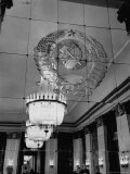 Hall of Emblems in USSR East Berlin Embassy, with Soviet Seal Embossed on Mirror Photographic Print by Frank Scherschel
