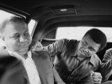 Boxer Muhammad Ali Clowning Around with His Trainer Bundini Brown Premium Photographic Print by John Shearer