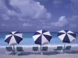 Beach Chairs and Ocean, U.S. Virgin Islands Reproduction photographique par Bill Bachmann