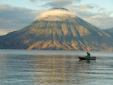 Reflections on Lake Atitlan with Fishing Boat, Panajachel, Western Highlands, Guatemala Fotografie-Druck von Cindy Miller Hopkins