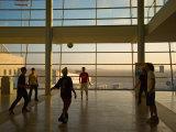 Playing Soccer at Ben Gurion Airport, Tel Aviv, Israel Fotografie-Druck von Stephane Victor