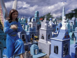 Cemetery Statues, Paintings, Graves, Crosses, and Family Tombs, Yucatan, Mexico Photographic Print by Michele Molinari
