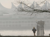 Runner on Waterfront Path, Stanley Park, Vancouver, Canada Photographic Print by Lawrence Worcester