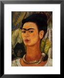 注目すべき女性アーティスト-フリーダ・カーロ-猿と一緒の自画像 高品質プリント : フリーダ・カーロ