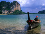 Traditional Boat in Ao Rei Leh (Bay of Railay), Rai Leh Bay, Thailand Photographic Print by Nicholas Reuss